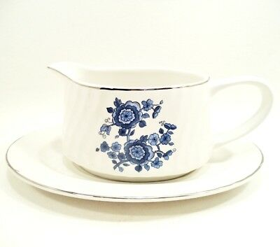Royal Blue Ironstone by enoch Wedgwood China Gravy Boat w/ Underplate Sauce