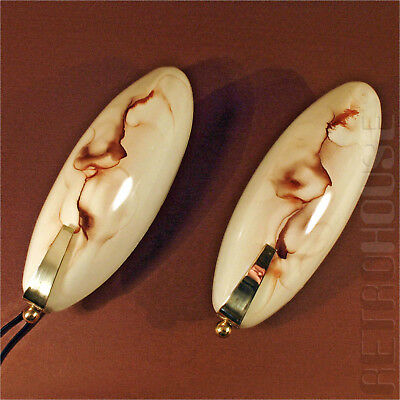 PAIR Antique Wall Lights Sconces Lamps Brass Glass Vintage Mid-Century Modern
