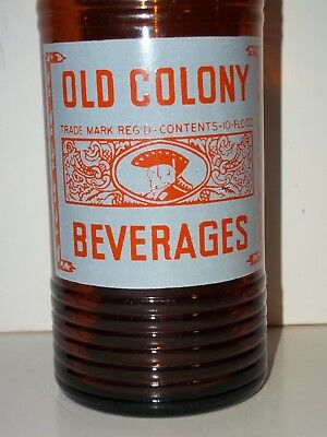 NM1950s OLD COLONY BEVERAGES Amber 10 oz ORANGE CRUSH Fat Soda Bottle ACL Canada