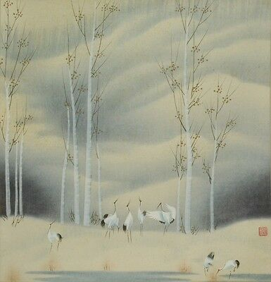 CHINESE PAINTING LANDSCAPE HANGING SCROLL Asian ART China Crane Antique b328