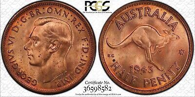 1943(m) Half Penny PCGS Graded MS64+RD Coin