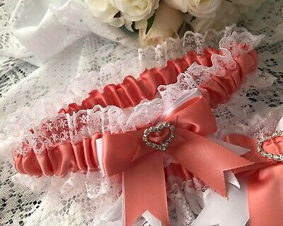 WEDDING GARTER CORAL PINK SATIN AND WHITE LACE HEARTS bridal shower gift bride