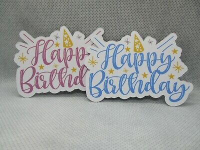 8 Printed Party Hat Happy Birthday Sentiment Die Cuts........cardmaking