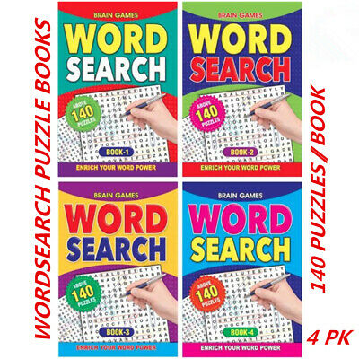 4 x A5 Word Search Book Words Find Crossword Puzzle Fun Game (160 Pages/Book)