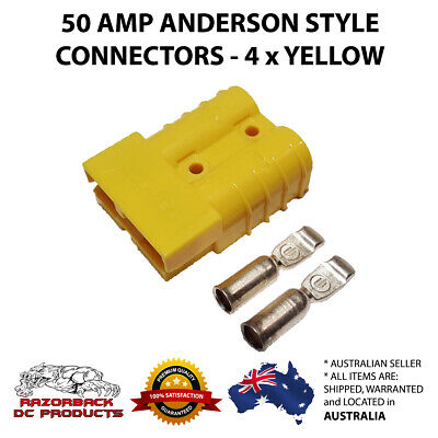 4 X Yellow Anderson Style Plugs 50 Amp Premium Heavy Duty 6Awg Pins