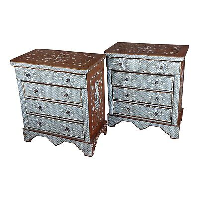 Syrian Beautiful Mother-of-pearl Inlay Chests Nightstands-a Pair