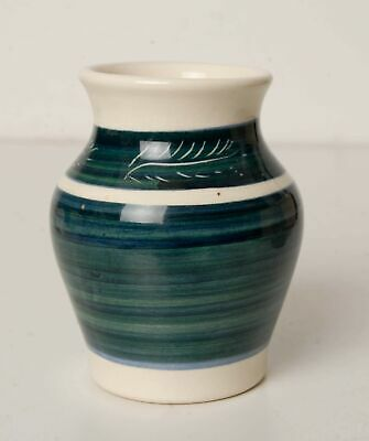 Vintage Dragon Pottery Rhayader Small Vase with Aqua Bands