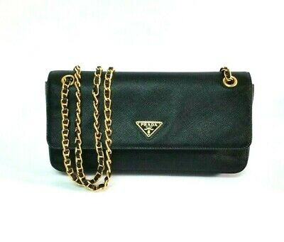 da6f126ed0fb PRADA Black Saffiano Leather Small Chain Sling Bag (clutch/shoulder) -  BT0737