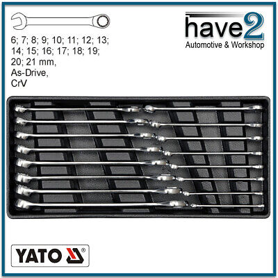 YATO 16 Piece AS-Drive Combination Spanner Set, CrV, Metric: 6 to 21mm