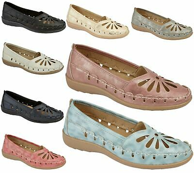 Womens Loafers Flat Casual Comfort Ladies Flower Cut  Summer Pumps Shoes