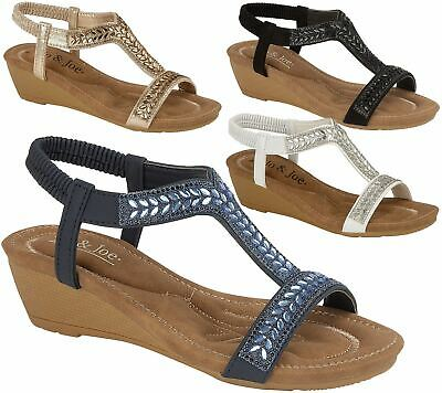 Ladies Sandals Low Wedge Diamante Summer Womens Wedding Fancy Shoes