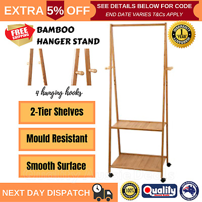 Bamboo Valet Stand Clothes Rack Shelves Office Coat Hanger Unit Wooden Display