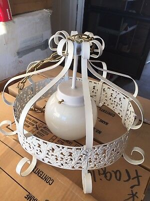 VINTAGE Wrought Iron Antique Rustic Old White Hanging Light Fixture Lamp W. Plug