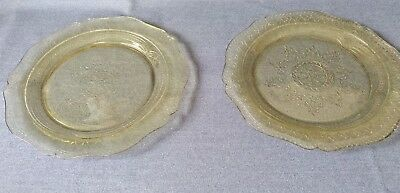 """Vintage Patrician Amber Yellow Depression Glass 11"""" Dinner Plates Set of 2"""
