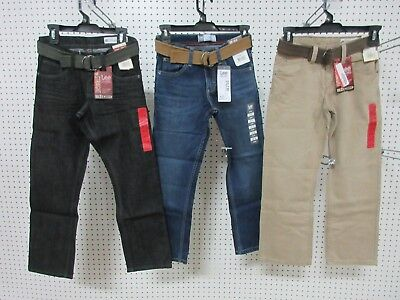 3 Lee Dungarees Boys Kids Youth Pants Jeans Clothes Slim 10 R Belt Straight Leg