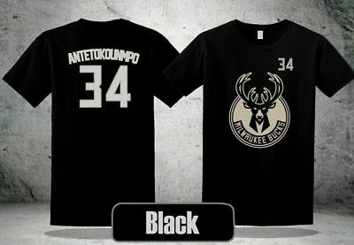 Giannis Antetokounmpo Milwaukee logo black T-Shirt M to 3XL