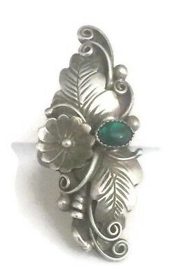 Vintage Long Sterling Silver Southwest Tribal Squash Blossom Ring Size 5.25  8g