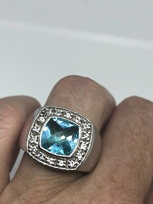 Genuine London Blue Topaz Vintage 925 Sterling Silver Size 8 Deco Ring