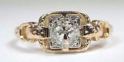 Art Deco Antique Vintage Engagement 14K 18K Yellow Gold Size 5.75 UK-L EGL USA