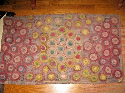 Antique well worn genuine penny rug folk art textile naive primitive on burlap