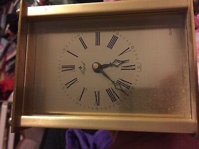 vintage ROYAL Brass / Gilt Carriage Quartz Clock from Germany mantle trophy tag