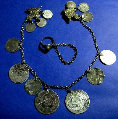 OTTOMAN SILVER Adornment KYUSTEK or PENDANT & RING   , Hand crafted chains