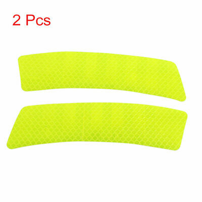 2pcs Reflector Stickers Car Wheel Eyebrow Safety Warning Tape Strip Decal Yellow