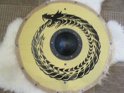 Yellow and black Jörmungandr Viking shield
