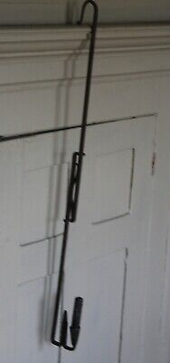 "A Rare Old 18Th C New England Hanging Wrought Iron Candle And Rush Light 30"" T."