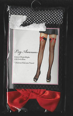 6f3537378 Leg Avenue 9018 Stockings Black Fishnet Thigh Highs With Red Satin Bow New