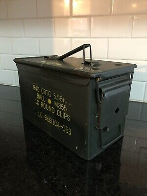Fat 50 Cal Ammo Can Box US Military Ammunition Metal Storage Saw 5.56MM M855