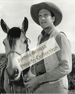 James Arness Gunsmoke Marshal Dillon Jim with Horse B/W 8 x 10 Photo