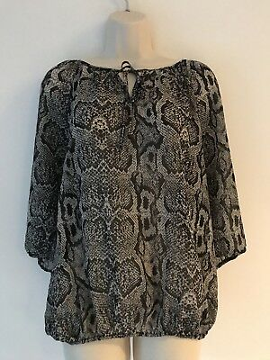 b5ac9895 Ellen Tracy Large Blouse Sheer Black & Gray Snake Print 3/4 Sleeve Peasent  Top