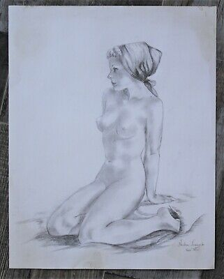 Nude Pencil Drawing Signed Helen Franyak - Circa 1976
