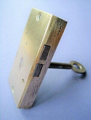 Antique brass patent warded cut cabinet cupboard door lock c/w original key
