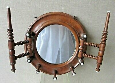 Salesman Sample VICTORIAN miniature WALL MIRROR / HAT scarf RACK walnut ANTIQUE