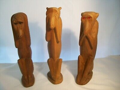 3 Wise Monkeys Hear, See & Speak No Evil Genuine Besmo Hand Carved in Kenya