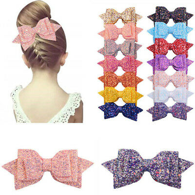 Girls Leather Swallowtail Bow Hairbow Hairpin Hair Clips Kid Hair Accessory D