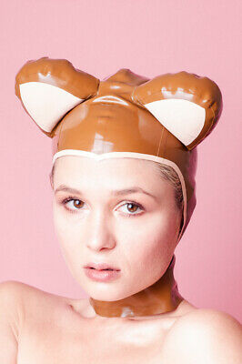 Unique Handmade Designer Brown Latex Bear Hood with Inflatable Ears - XS / Small