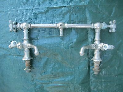 RARE antique SINK FAUCET mixer bridge 4 HANDLES kitchen PLUMBING bathroom OLD