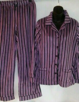 New Anne Klein Medium Long Sleeve PJ Pajama Set Pink & Black Fleece Med