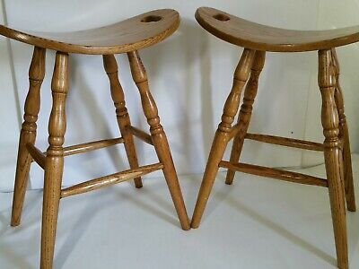 Vintage Mission Style Pair of Oak Wood Bar Stools - Curved Seat Handles Bentwood