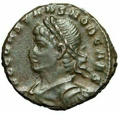 """Constans as Caesar AE16 """"Bust Left & Soldiers"""" Constantinople RIC 152 Scarce"""