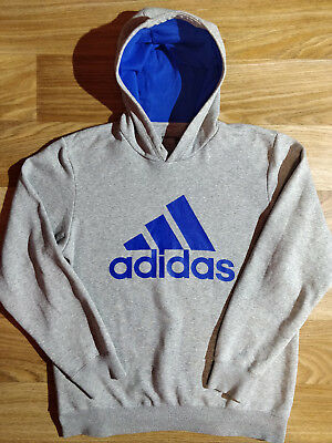 Adidas Essentials Vintage Mens Hoodie Tracksuit Top Jacket Hooded Gray Blue Logo