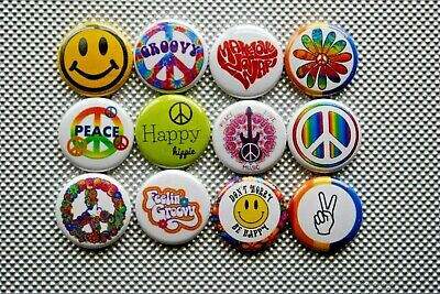 "Peace sign make Love Hippie 70s Buttons Pins 1 Inch Badge Lot 1"" flower child"