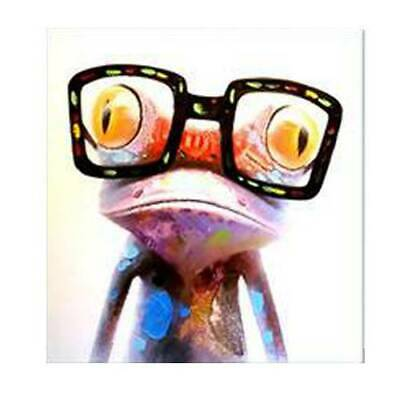 Frog w/ Eyeglasses Modern Abstract Huge Wall Art Oil Painting On Canvas Unframed