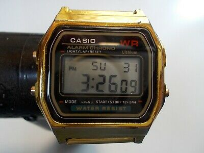 Casio Mens Digital Quartz Watch #a159W Gold Tone  -  Pre-Owned