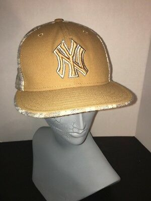 7a25f0e5d44 New Era 59Fifty NEW YORK NY YANKEES Gold Wool Fitted 7 3 8 Baseball Cap