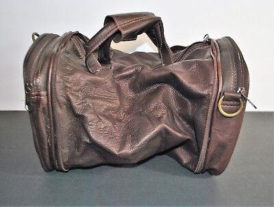 Leather Collapsible Duffle Travel Bag Brown w/Strap NWT Manualidades Colombianas