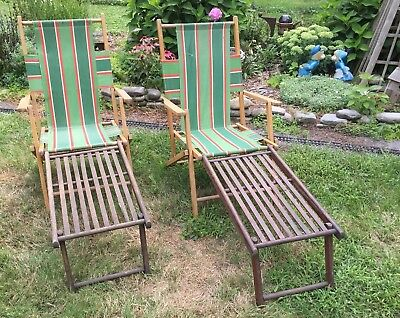 Qty 2 Vintage Telescope Wood Folding Ship Deck Lawn Chairs ~ Parts Repair ~Nice!